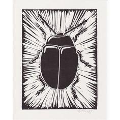 Beetle - Lino print by Lauren McGregor
