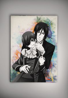 Black Butler Anime Manga Watercolor Print Poster Kuroshitsuji Ciel Phantomhive Sebastian Michaelis Grell