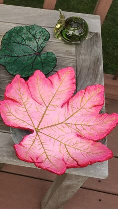 Cement leaf hand painted by Barbara                                                                                                                                                                                 More