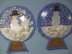 This project is from Ellsworth Elementary. The students created snow globes with a blue paper background painted with snow and a snowman, a brown piece of paper for the base under the globe and then a clear plate glued over the top for a glass globe effect!