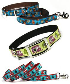 Dog collars made using designer ribbon.