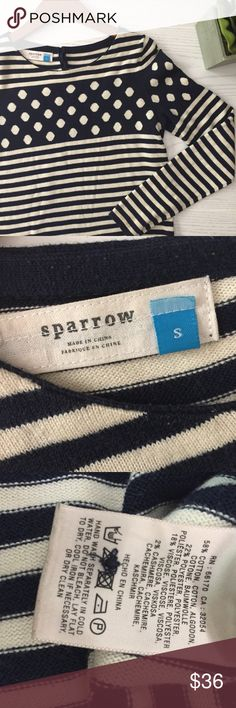 """Anthropologie Sparrow Striped Sweater Navy and off-white striped and dotted sweater from Sparrow/Anthropologie • 17"""" bust • 23"""" length • cotton/poly/viscose/Cashmere blend • good condition! Offers are always welcome Anthropologie Sweaters"""