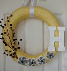 Yarn wrapped spring wreath :-) $30    So pretty!        **as a courtesy to it's creator, don't pin to DIY/Craft boards**