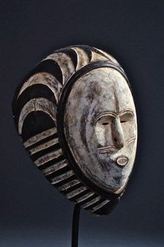 Africa | Ngon Ntang mask from the Fang people of Gabon | Wood and pigment | Image  ©Michel Renaudeau
