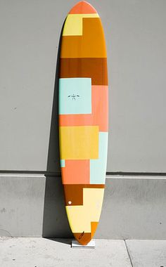 Color blocked surf board Shaped by Donald Takayama, (who also shapes all of Kassia's boards) and hand painted by artist Greg Lamarche t
