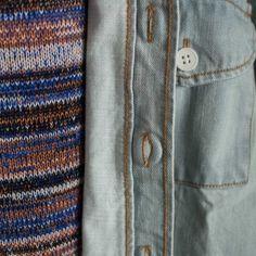 Great combo of the Etudes Fugace denim shirt/jacket and the Etudes World knit!