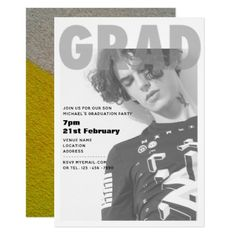 Urban PHOTO Graduation Party Invite Modern - invitations personalize custom special event invitation idea style party card cards