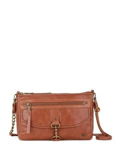 I just bought this. LOVE IT!! It has cute fabric inside, lots of pockets inside and out, and an adjustable strap. It also is stiff so it stands up, makes it easy when I am looking for something. And it isn't heavy. Great leather bag!