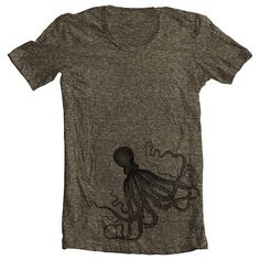 Unisex T shirt - OCTOPUS - Men's Women's American Apparel Tshirt - Coffee (9 COLORS) - Sizes xs, s, m, l, xl - (gct)