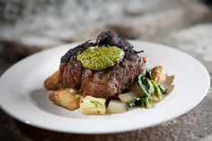 Grilled Bone-In Tenderloin, Red Miso, Bok Choy, Fingerlings, Sesame Basil Pesto | Flickr - Photo Sharing!