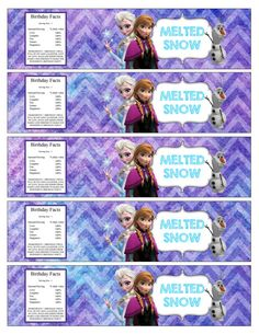 "el Free | Frozen Printable Water bottle labels ""Melted Snow"" DIY Instant ..."