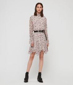 It's so The Ria Freefall Dress is crafted from a lightweight fabric and finished with our new floral print. Cut to a flattering fit-and-flare shape with elastic shirring. All Saints, Latest Fashion For Women, London Fashion, Models, Fit And Flare, Peplum Dress, Summer Outfits, Floral Prints, Women Wear