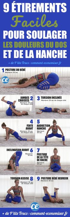 9 EASY stretches to relieve back and hip pain. - 9 EASY stretches to relieve back and hip pain. Body Pilates, Pilates Video, Pilates Workout, Pilates Reformer, Fitness Workouts, Fitness Del Yoga, Health Fitness, Alo Yoga, Yoga Gym