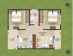 Esta casa popular tem uma planta de simples execução permitindo economia e velocidade na sua obra, pode se adaptar facilmente ao seu terreno, com dois quartos e cozinha ...