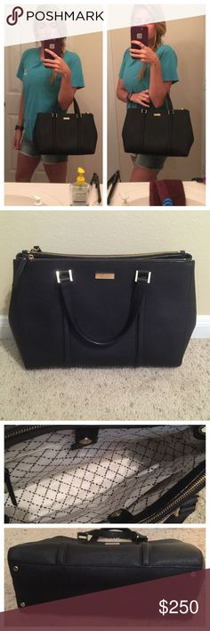 Kate Spade Large Loden - Newbury Lane Kate Spade Large Loden Bag. Can be worn as a tote or add the adjustable strap for a shoulder bag / satchel! Front hardware had minor scratches that are not noticeable. Otherwise perfect condition! kate spade Bags Totes