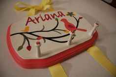 Personalized Hairbow Holder with Pegs (for headbands) by esrollins on Etsy. $30.00, via Etsy.