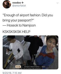 hoseok ain't having anymore passport drama Namjin, Btob, K Pop, Vixx, Bts Memes Hilarious, Funny Pics, Funny Stuff, Funny Quotes, Funny Pictures