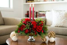 Make seasons bright this year with a festive holiday centerpiece. Christmas Buffet, Christmas Candles, Christmas Home, Christmas Crafts, Christmas Decorations, Xmas, Holiday Centerpieces, Centrepieces, Beautiful Red Roses