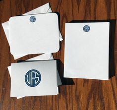 New to VeronicaFoleyDesign on Etsy: Circle Monogram Stationery Set Monogrammed Stationary Stationery Wardrobe Personalized Stationery Gift Set Luxury gifts for men (49.00 USD)