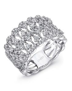 Delightful open lace diamond band in 14K white gold, featuring 118 round brilliant cut white diamonds (combined weight of 1.10 carats) nestled in multiple rows down the finely textured coralline-inspired mesh-like openwork filigree; from Uneek's Lace Collection; this style can come in rose gold or yellow gold, available by special order