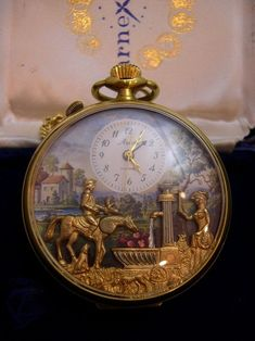 This Reuge Musical Pocket Watch Automaton has a small Reuge music box mechanism and 4 moving automata features on the watch face. The mechanism is an Arnex 17 jewel movement Old Pocket Watches, Pocket Watch Antique, Old Clocks, Antique Clocks, Antique Watches, Vintage Watches, Fancy Watches, Modern Watches, Wrist Watches