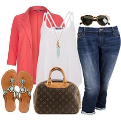 """Coral Blazer - Plus Size"" by alexawebb on Polyvore"