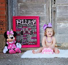 Minnie Mouse Birthday Chalkboard - 1st Birthday Chalkboard For Minnie Mouse Themed First Party - Printable Chalk Poster Minny Mouse Pink on Etsy, $29.00