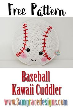 Kawaii Cuddler™ - Free Crochet Pattern Free baseball crochet pattern for the athlete in your life. Our amigurumi pattern makes a great pillow.Free baseball crochet pattern for the athlete in your life. Our amigurumi pattern makes a great pillow. Kawaii Crochet, Cute Crochet, Crochet For Kids, Crochet Baby, Beautiful Crochet, Crochet Patterns Amigurumi, Crochet Dolls, Crochet Stitches, Crochet Pillow