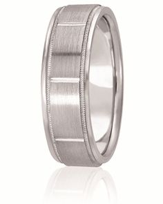 Diamond Cut Wedding Band With Milgrain Inlay