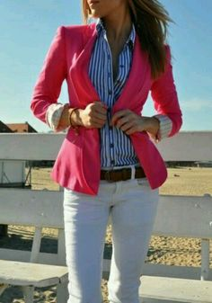 Ralph Lauren Like the unexpected blue/white stripes with pink color combo.
