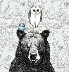 Three's A Crowd Illustration - Bear Owl and Bird Art