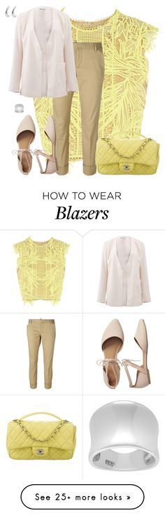 """""""Erdem Caissa Guipure Lace Top"""" by dazzlious on Polyvore featuring Erdem, Dsquared2, T By Alexander Wang, Gap, Chanel, MANGO, Journee Collection and yellow"""