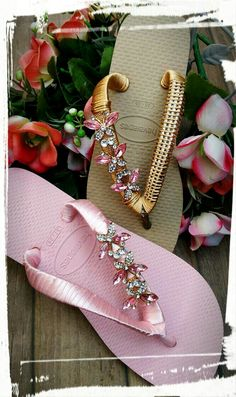 Nice ribbon texture, I might scour some thrift shops for the crystal components Diy Fashion, Fashion Boots, Flip Flop Craft, Decorating Flip Flops, Creative Shoes, Shoe Pattern, Pink Butterfly, Bare Foot Sandals, Diy Necklace
