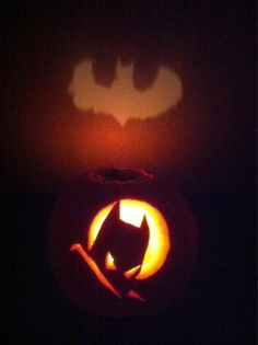 """I did this carving, but I never thought of carving the top part like that! -- """"Holy pumpkin patches, Batman! [submitted by Bryan Nicodemus]"""""""