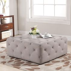 Baxton Studio Teague Beige Linen Modern Tufted Ottoman - Overstock™ Shopping - Great Deals on Baxton Studio Ottomans