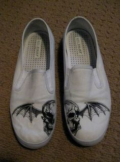 Made to Order AVENGED SEVENFOLD  DEATH BAT shoes by missmalfaisant