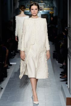 """""""Le jardin des écritures"""" tailleur and cape  with embroidered ferronnerie in tuberose wool.    http://www.valentino.com/en/collections/haute-couture/"""