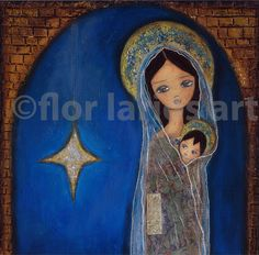 Nativity Star II- Giclee print  7 x 7 inches Folk Art by FLOR LARIOS.