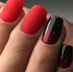 Red matte black with glitter | Art Simple Nail