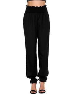 Special Offer: $17.99 amazon.com Get this stylish loose fit harem pants in your wardrobe,which features elastic high waist, ruffle wasitband and leg opening.You can wear them for any kind of event,whether business related, formal,casual,beach,work out,nightwears or ordinary day.Loost style...
