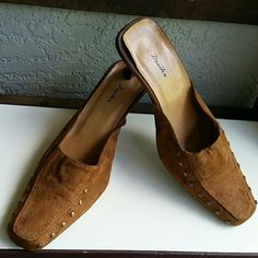 Chestnut Suede Studded Mules by Dosika Brand Dosika African Brand Size 7M Chestnut Suede brass studded and leather mule heels. Great to go with country western or Boho Chic styles. Very nice like new Condition  Bundles available with discounts Dosika Shoes Mules & Clogs