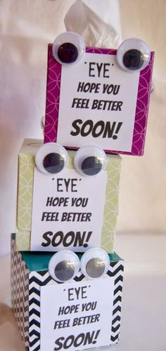 Get Well Soon Tissue Box Gift (michelle paige) Homemade Gifts, Homemade Cards, Craft Gifts, Diy Gifts, Get Well Baskets, Get Well Soon Basket, Little Presents, Get Well Soon Gifts, Get Well Cards