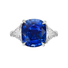 7.76 Carat Sapphire Diamond Platinum Ring   From a unique collection of vintage three-stone rings at https://www.1stdibs.com/jewelry/rings/three-stone-rings/