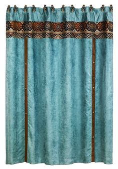 Our Del Rio Shower Curtain Features Rich Blue Velvet Panel Lined With Embellished Faux Leather And