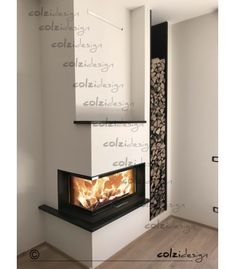 Modern Fireplace, Fireplace Wall, Living Room With Fireplace, Interior Exterior, Interior Design, Chic Living Room, Forest House, Corner Designs, Woodworking Projects Plans