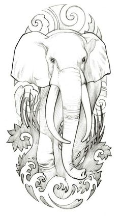 Ideas tattoo elephant drawing for 2019 Art Drawings Sketches, Tattoo Sketches, Animal Drawings, Tattoo Drawings, Elephant Drawings, Cloud Tattoo Design, Elephant Tattoo Design, Tattoo Elephant, Elephant Colour