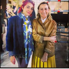 Laroux Filjian, blogger and stylist extraordinaire, spotted hanging out with Miuccia Prada while wearing @lillyevioletta blu-while mink bomber jacket. We like to think Miuccia wants one too! #lillyevioletta
