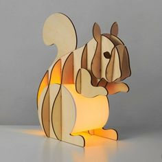 Decorative Wooden Slot-Together Squirrel Table Lamp in a Light Wood Finish Desk Lamp, Table Lamp, Architectural Pattern, Bedroom Lighting, Night Light, Kids Room, Lights, Disney Characters, Wood