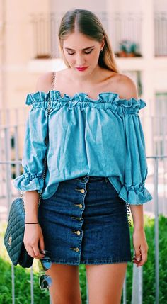 Blue Off The Shoulder Ruffle Half Sleeve Blouse from shein.