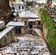 Makrinitsa #village , Magnesia, #Thessaly #greece  - #travelblog #winter #vacation #snow #holiday Visit Greece, Cabin, Snow, Island, Vacation, Explore, House Styles, Winter, Holiday